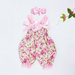 Newborn Infant Baby Girl Floral Romper Bodysuit Jumpsuit Headband Outfit Clothes $7.99