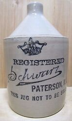 Schwarz Paterson Nj Antique 1/2 Gal Liquor Stoneware Pottery Jug Not To Be Sold