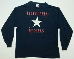 Rare Vintage Tommy Jeans Spell Out Star Ls T Shirt 90s 2000s Navy Sz L