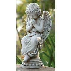17quot; Seated Angel on Pedestal Outdoor Statue