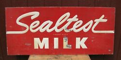 1960s Sealtest Milk Embossed Metal Advertising Sign Farm Country Store Large Ad