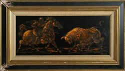 Charles Burdick, Picador And Bull, Oil On Board, Signed L.r.