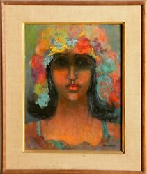 Miriam Bromberg, Portrait With Flower Hat, Oil On Board
