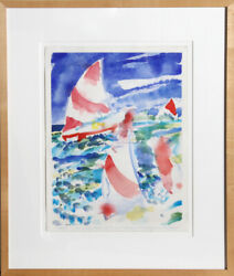 Fred Mitchell Sailing Watercolor Painting