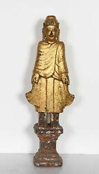 Unknown Chinese Buddha Goddess Figure Hand-carved And Painted Wood Sculpture