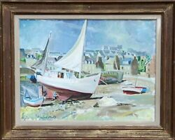 Trafford Partridge Klots, Boats On The Shore In Brittany, Oil On Canvas, Signed
