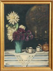 F. Weber, Still Life With Flowers, Oil On Board, Signed L.l.