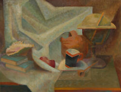 Laurent Marcel Salinas Still Life with Helmet and Pipe Oil Painting