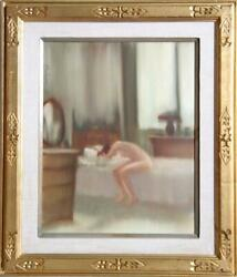 Anthony Autorino, Nude On Bed, Gouache On Board, Signed U.l.