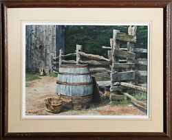 Michael Davidoff Wooden Pail And Barrel Watercolor On Paper Signed L.l.
