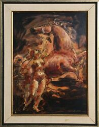 Charles Burdick, Maiden And Horse, Oil On Board, Signed