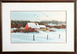 James Feriola Red Barn In The Snow Watercolor Signed In Black Ink