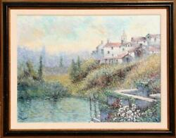 Rouget, Village On Hill, Oil On Canvas, Signed