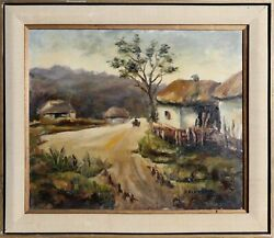 Unknown Artist Farm Road Oil On Canvas Painting Signed L.r. And039b. Beningtonand039