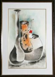 David Schluss, The Trio Vase, Pastel And Wax On Paper, Signed In Pencil