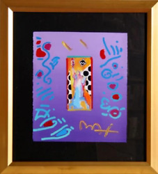 Peter Max, Statue Of Liberty, Acrylic And Collage Mixed Media On Paper, Signed