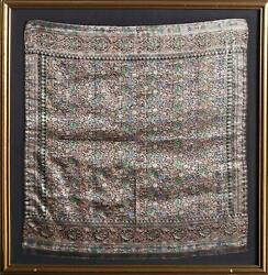 Unknown Artist Woven Wildflowers Emroidered Silk Scarf With Beads