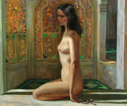 Marshall Goodman Nude in Interior with Stained Glass Oil Painting