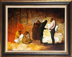 Andres Escartin, Figures In Conversation, Oil On Board, Signed L.l.