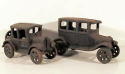 Antiques, Pair Of Early Cars, Cast Iron Sculpture