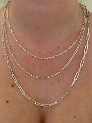 Solid 925 Sterling Silver Paperclip Rolo Chain 2.5mm - 4mm Cable Necklace Italy