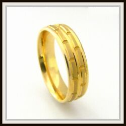 18 Kt Solid Yellow Gold Custom Made Wedding Band For Men And Ladies / De 0009 /
