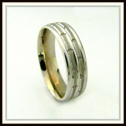 18 Kt Solid White Gold Wedding Band Custom Made For Men And Ladies / De 0022 /