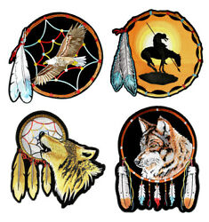 Set Of Native American Wolf, Eagle, Indian Dream Catcher Embroidered Patches