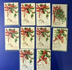 Christmas 10 E. Clapsaddle Antique Postcards. Series 1544. Collector Items. Nice
