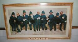 Early Version Tin Over Cardboard Carlings Beer Sign Policemen Super Clean