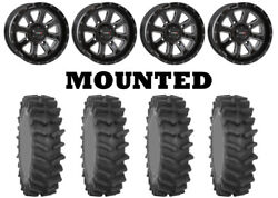 Kit 4 System 3 Xm310r Tires 35x9-20 On System 3 St-4 Gloss Black Wheels Can