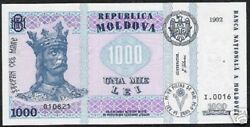 Moldova 1000 1,000 Lei P-18 1992 King Flag Rare Date Unc Currency Bill Banknote