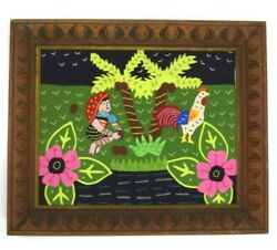 Vintage Patchwork Jungle Chicken Carved Wood Frame Wall Tapestry Art Decor 17quot;