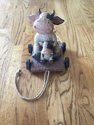 Cow With Head That Bobbles Figurine Rustic Country Farmhouse Decor New