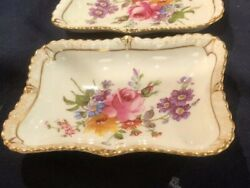 Pair Of Royal Crown Derby 3 3/4 In Handprinted Floral Pin Dishes Nice Shape