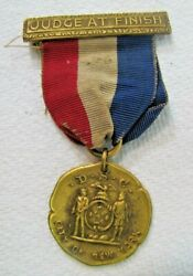 Judge At Finish Dsc City Of New York Antique Gold Plated Sports Award Medallion