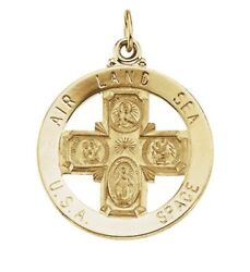 St. Christopher 4 Way Medal 14k Yellow Gold 25mm 1x1air Land Sea Space Military