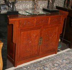 Furniture, Asian Buffet With Magnolia Branches, Carved Magnolias And Birds With
