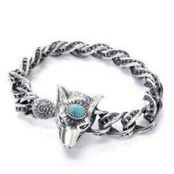 Silver Bracelet Anger Forest Wolf Size 17 From Japan Free Shipping