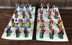 Vintage Painted Lead Toy Soldier Lot 24 French Mounted Horses Removeable Rider
