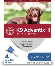 K9 Ii Flea Tick And Mosquito Treatment For X-large Dogs Over 55 Lb-4pc