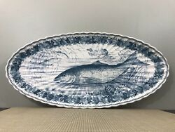 Antique W.t. Copeland And Sons Blue And White Transferware Fish Platter Late 1800and039s