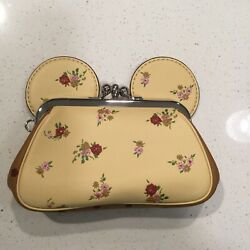 Coach Minnie Mouse Clutch Yellow Disney Leather NWT $200.00