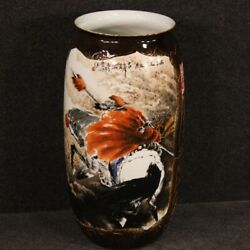 Chinese Vase Furniture Object Antique Style Oriental In Painted Ceramic