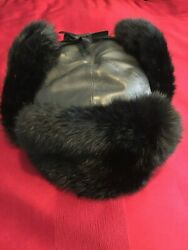 Genuine Leather Black Rabbit Fur Ushanka Winter Trapper Hat M58 Us7and039and0391/4