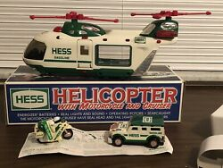 2001 Hess Helicopter With Motorcycle And Cruiser Toy Truck Nib Great Gift