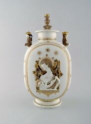 Royal Copenhagen. Lidded Art Deco Jar With The Virgin Mary And The Jesus Child.