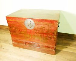 Antique Chinese Hand Painted Trunk 5706 Red Lacquer Circa 1800-1849