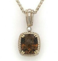 Charles Krypell Sterling Silver 14k Yellow Gold Whiskey Quartz Diamond Necklace