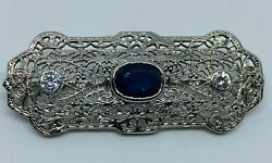 Antique Appraised Art Deco 10k White Gold Filigree Sapphire And Diamond Pin